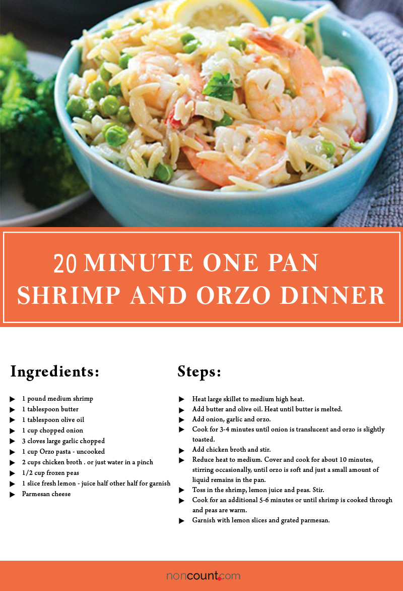 20 Minute One Pan Shrimp and Orzo Dinner Seafood Recipe