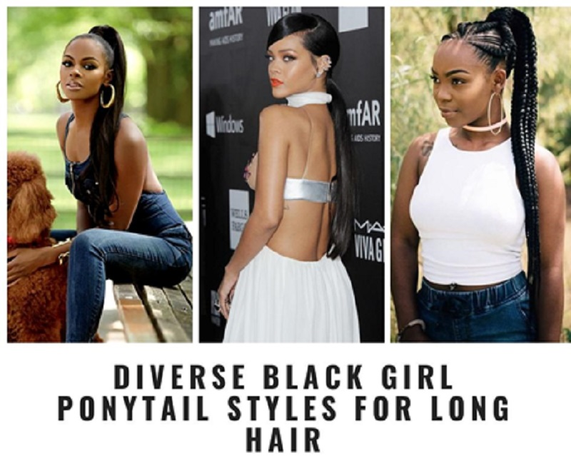 Diverse Black Girl Ponytail Styles for Long Hair