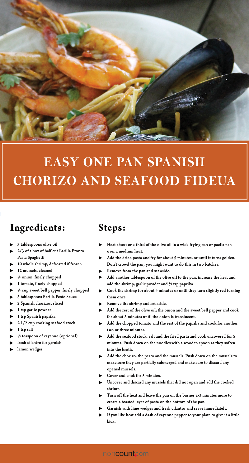 Easy One Pan Spanish Chorizo and Seafood Fideua Seafood Recipes Image