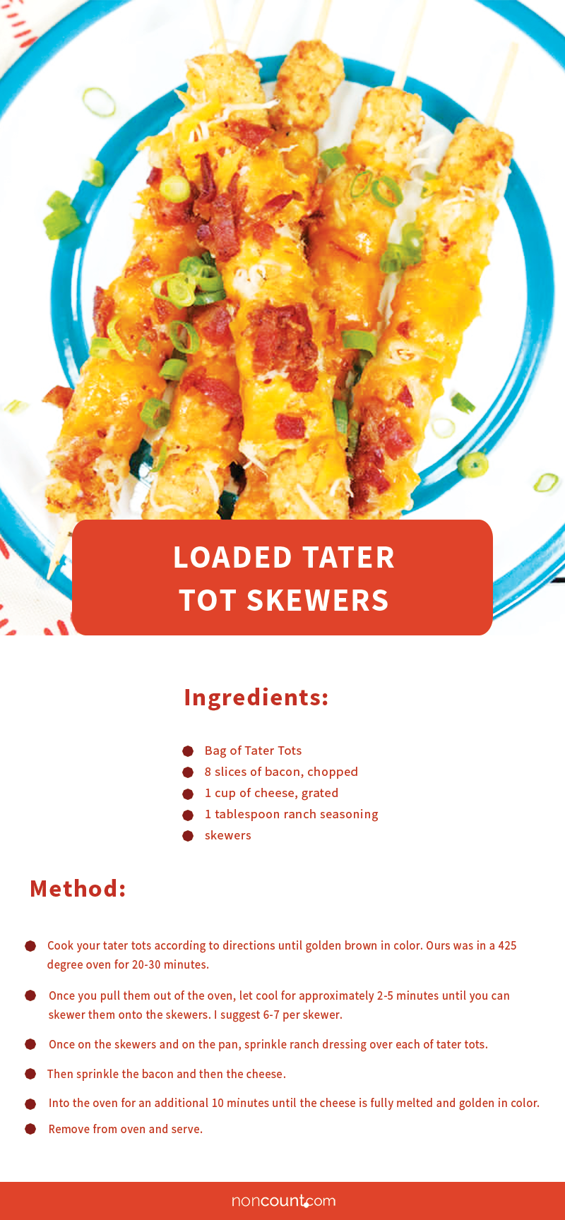Loaded Tater Tot Skewers Party Food Recipes