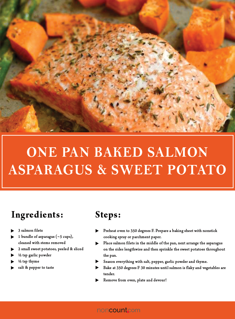 One Pan Baked Salmon Asparagus & Sweet Potato Seafood Recipes Image