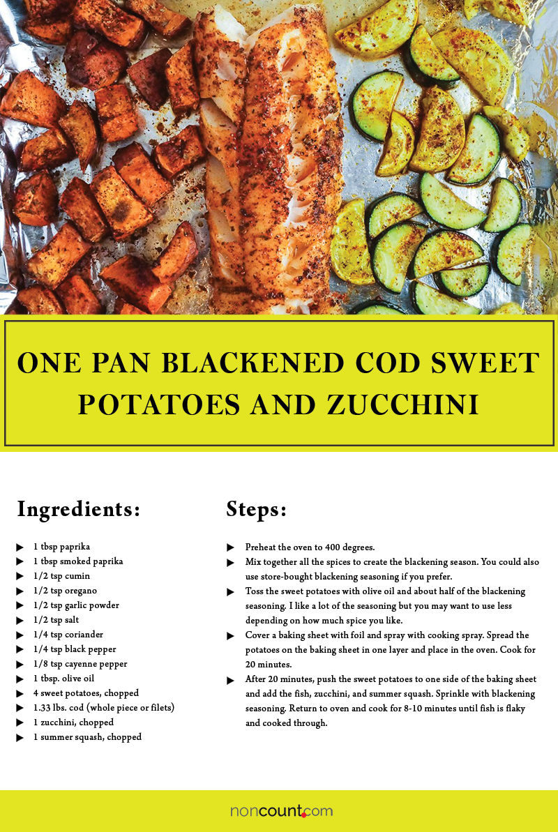 One Pan Blackened Cod, Sweet Potatoes, and Zucchini Seafood Recipe Image