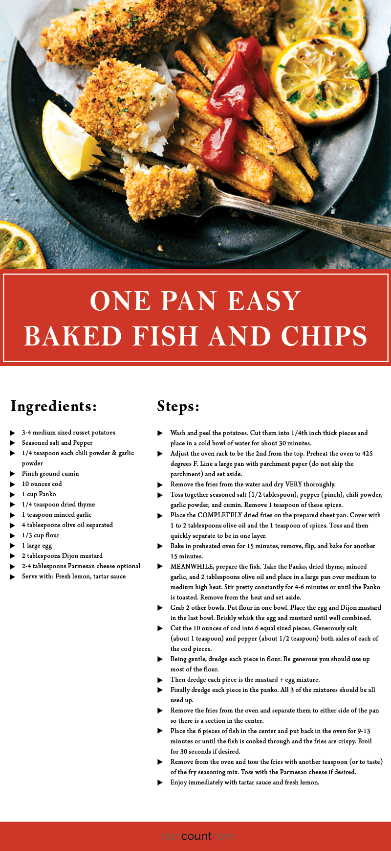 One Pan Easy Baked Fish and Chips Seafood Recipe Detailed Image