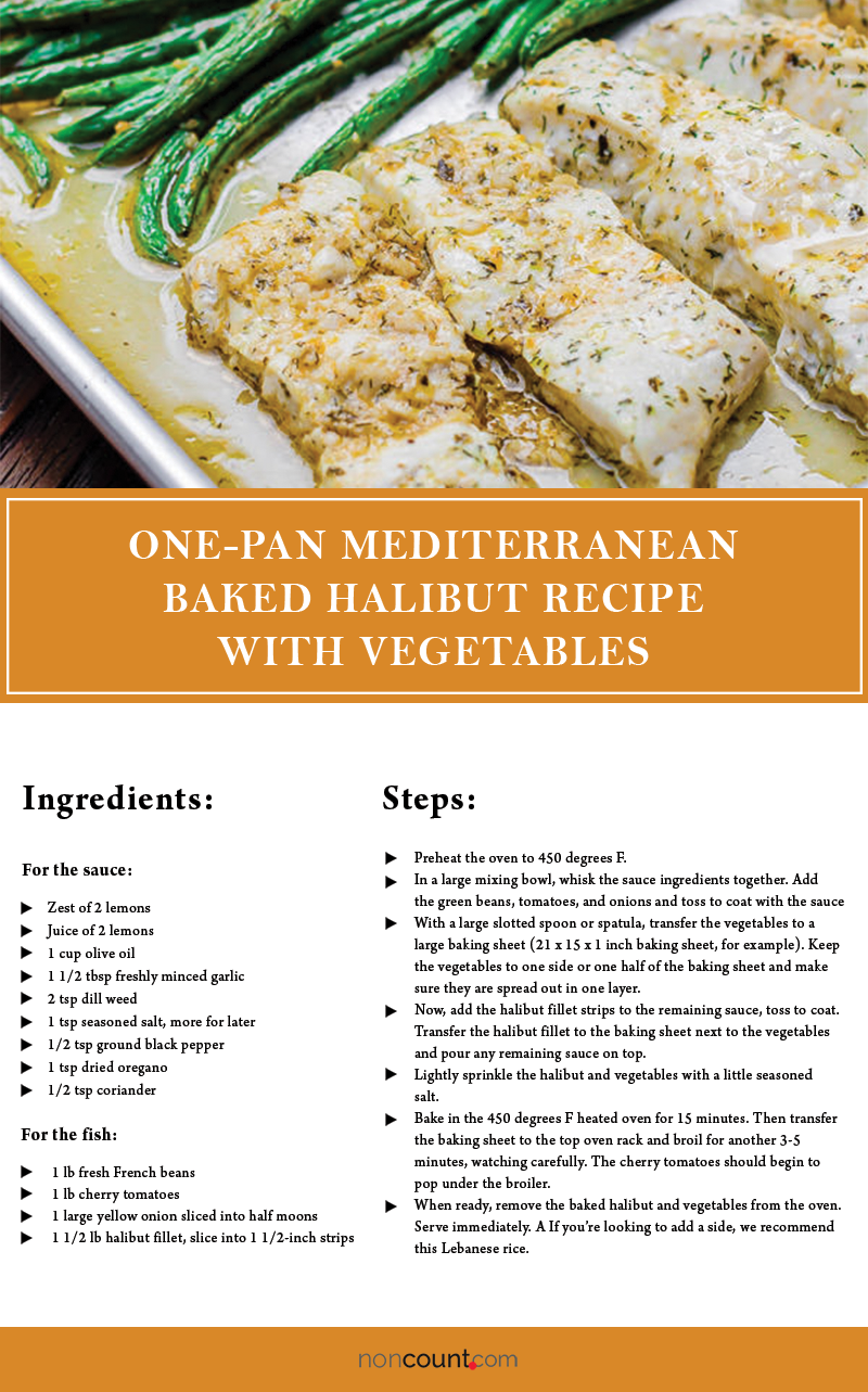 One-Pan Mediterranean Baked Halibut Recipe with Vegetables Seafood Recipes Image with Detail Info