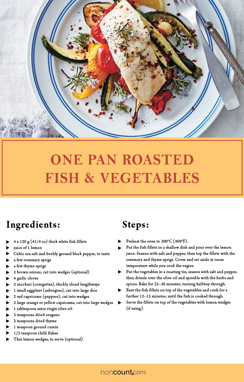 One Pan Roasted Fish & Vegetables Seafood Recipe Image