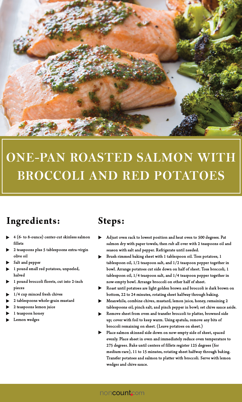 One-Pan Roasted Salmon with Broccoli and Red Potatoes Seafood Recipe
