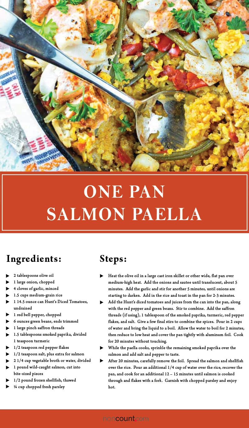 One Pan Salmon Paella Seafood Recipe Image
