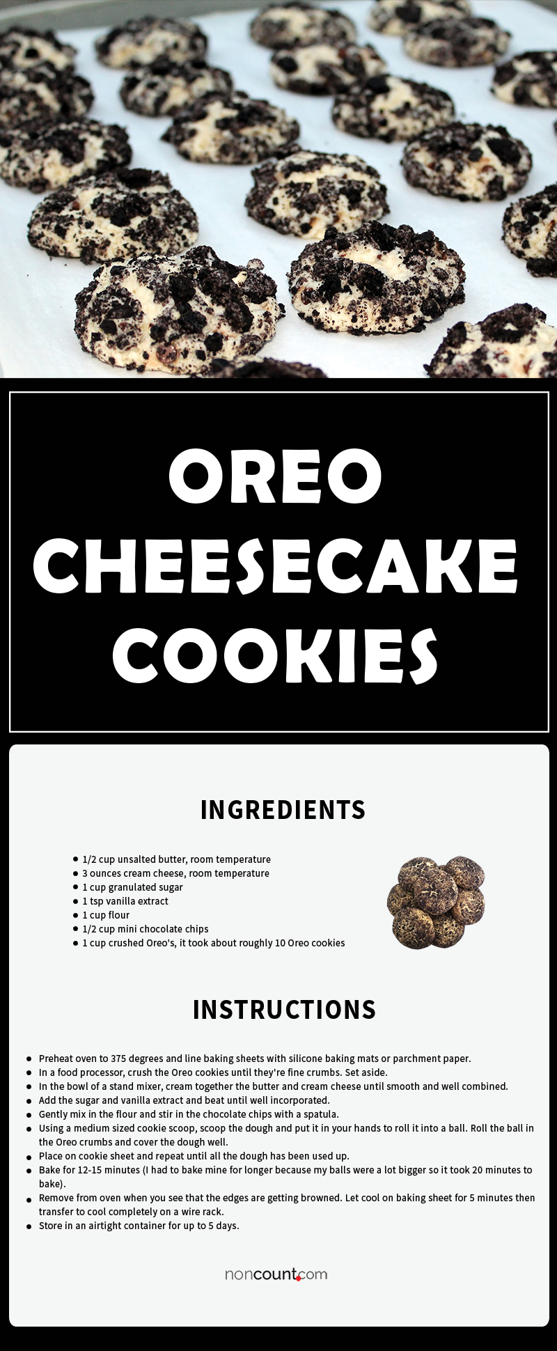 Oreo Cheesecake Cookies Image of detail recipe