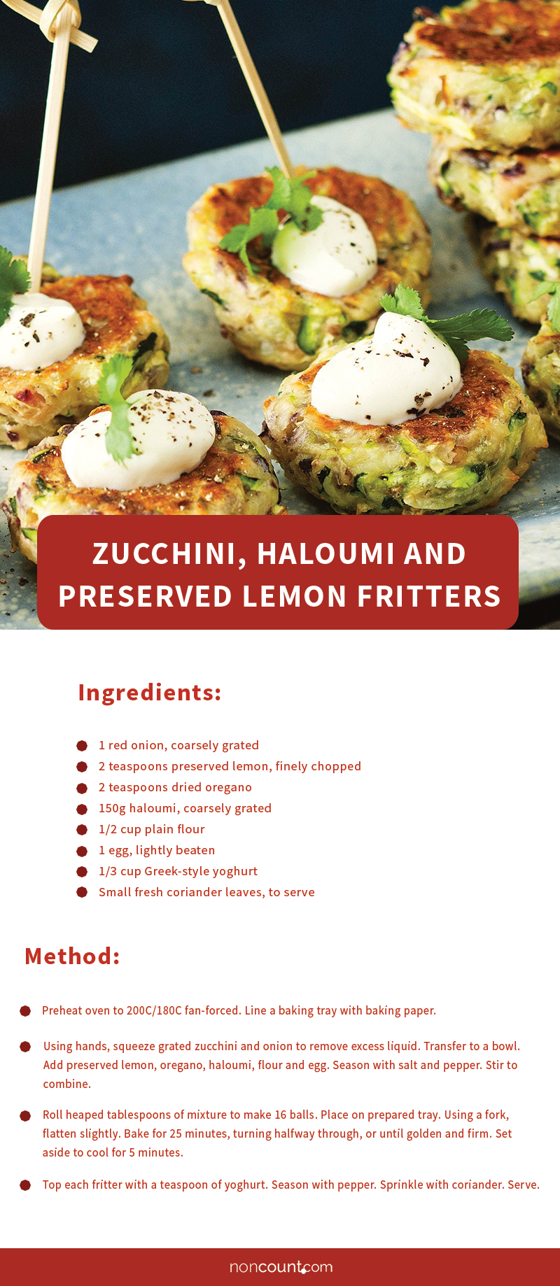 Zucchini, Haloumi and Preserved Lemon Fritters
